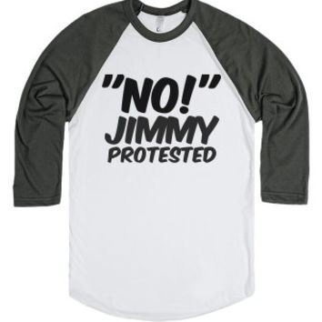'NO!' Jimmy Protested-Unisex White/Asphalt T-Shirt