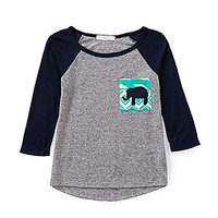 Moa Moa 7-16 Colorblock Elephant-Pocket Top - Grey/Navy