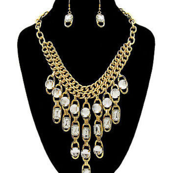 GOLD Bling Rhinestone LINK CHAIN DANGLE BIB Statement Necklace & Earrings SET
