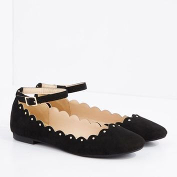 Black Scalloped Ankle Strap Ballet Flat By Qupid | Ballet | rue21