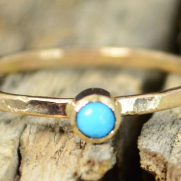 Classic Solid 14k Gold Turquoise Ring