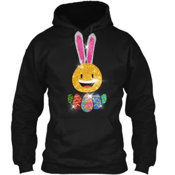 Easter Bunny Emoji T-shirt. Cute Easter Graphic Family Gifts Pullover Hoodie 8 oz