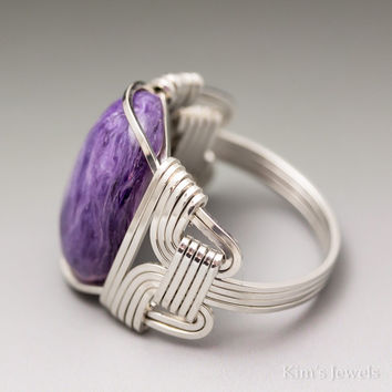 Charoite Sterling Silver Wire Wrapped Cabochon Ring