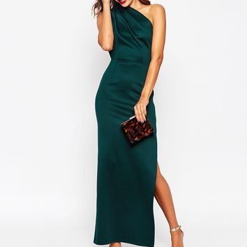 ASOS TALL One Shoulder Scuba Maxi Dress With Exposed Zip