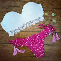 Retro Lace Dots Swimsuit Bikini Set Gift 77