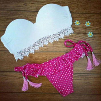 Retro Dots Bikini Set Women Swimsuit Beachwear