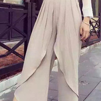 Solid Color High Waist Pleated Layered Chiffon Pants