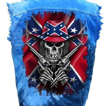 Men's Sleeveless Denim Shirt Rebel Flag Cowboy Skeleton Tie Dye Vest
