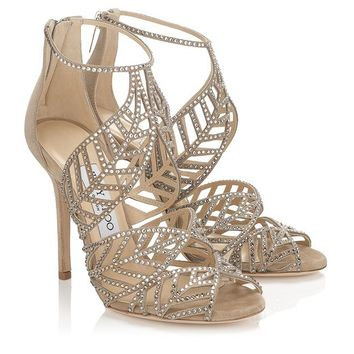 Nude Mix Suede and Hotfix Crystal Sandals | Kallai | Spring Summer 2014 | JIMMY CHOO Sandals