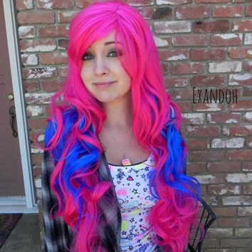 ON SALE // Hot Pink and Blue Wig - Rave Wig, Pastel Hair, Cosplay Wig, Dress Up Wig - Long Curly Layered with Natural Scalp Piece