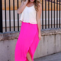 Breezy Beautiful Maxi Skirt - Fuchsia