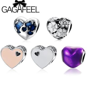 GAGAFEEL 100% 925 Sterling Silver Love Heart Beads Fit Pandora Bangle Bracelet Hollow Heart Charms Beads For DIY Jewelry Making