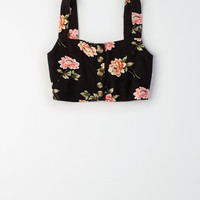 AE Button Front Camisole, Black