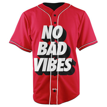 No Bad Vibes Red Button Up Baseball Jersey