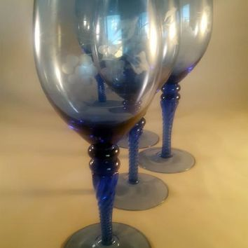Sapphire Blue Etched Stemware, Twisted Stems  S/6
