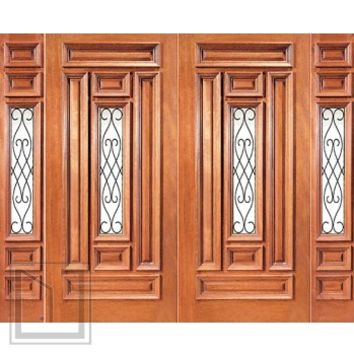 Pre-hung Mahogany Center Lite Entry Double Door Two Sidelites