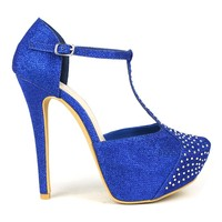 Celeste Sheri-02 T-strap Dress Pump in Blue @ ippolitan.com