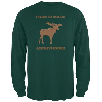 LMFCY8 PAWS - Moose Trying to Remain Anonymoose Green Long Sleeve T-Shirt
