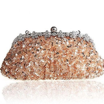 Gorgeous Sequins & Silk Brida lClutch with rhinestone crystal, wedding clutch, wedding purse