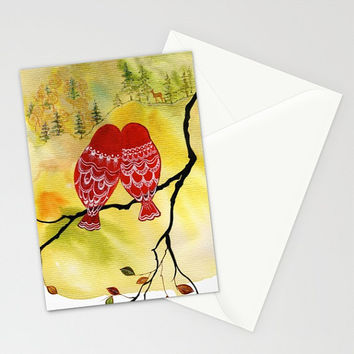 Look Deer - Greeting Card romantic anniversary Valentine's Day love birds colorful owls autumn forest watercolor art painting envelope