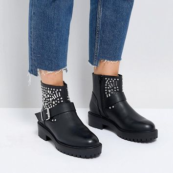 ASOS APT Wide Fit Studded Biker Boots at asos.com