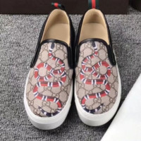 Gucci Fashion Trending Casual Flowers Design Loafer Shoes Flat Shoes Snake G
