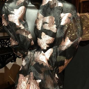 Vitage Styled Sheer black and pale pink wrap Shawl