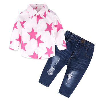 Girl set Five-pointed Star long-sleeved T Shirt Tops denim trousers Pants 2Pcs Outfits Baby Clothes Set drop ship