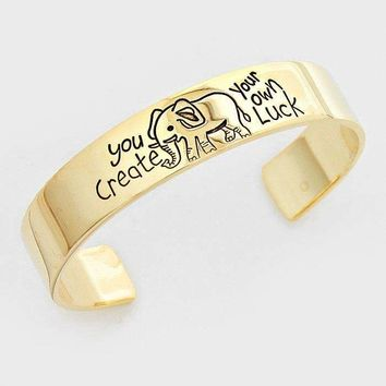 """You Create Your Own Luck"" Elephant Metal Cuff Bracelet"