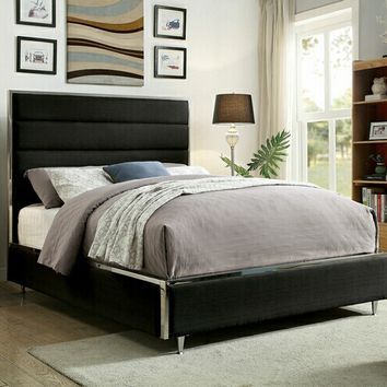GIllian collection black padded linen like fabric upholstered and tufted queen bed frame set