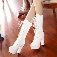 women thick heel platform high heels knee high martin gladiator boots lacing straps white boots