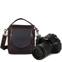 Crazy Horse Leather Full Grain Espresso Brown SLR Camera Satchel Bag