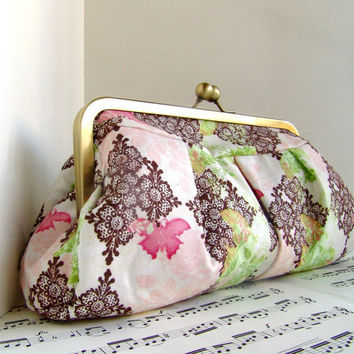 Blush pink brown and green framed clutch with by toriska on Etsy