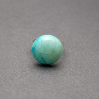 Blue Howlite Gemstone Silver Plated Adjustable Ring