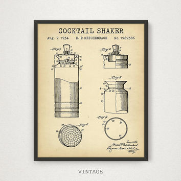 Cocktail Shaker Patent, Digital Download, Cocktail Poster, Restaurant Kitchen Bar Pub Decor, Cocktail Print, Alcohol Shaker, Liquor Patent