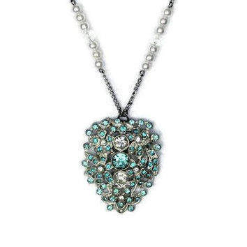 Teal Blue And Clear Rhinestone Flower Pendant, On Faux Pearl And Crystal Chain Necklace, Bridal Jewelry, Something Blue