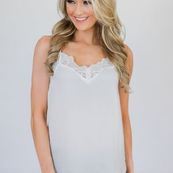 Ever So Soft Lace Layering Top- White