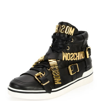 Multi-Strap Leather High-Top Sneaker, Black