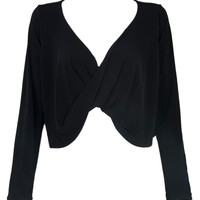 Black Twist Front Long Sleeves Crop Top