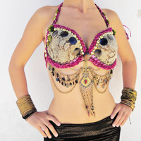 Belly Dance Costume, Tribal Fusion Bra,  Beaded Halter Top, Kuchi Tribal Bra, Belly Dancing Bra, Bellydance bra, Dance Bra, Festival , 34C