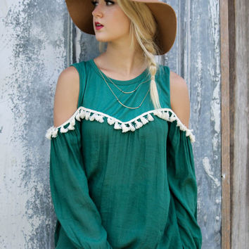 Boho Bandit Green Cold Shoulder Tunic Top with Cream Tassels