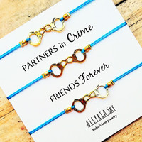 Partners in Crime Triple Handcuff Friendship Bracelet Set | BFF, Best Friend Gift Jewelry | Matching Friend Bracelets | Three Bracelet Set