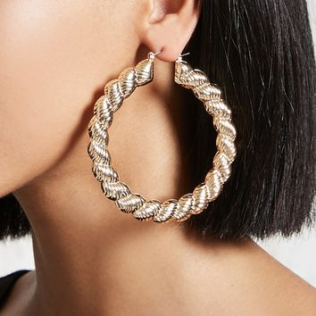 Textured Drop Hoop Earrings