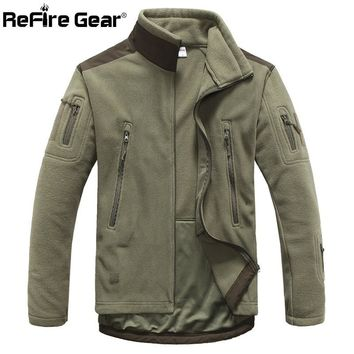 Trendy ReFire Gear Winter Warm Military Style Fleece Jacket Men Thicken Polar Outerwear Coat Army Clothing Many Pockets Tactical Jacket AT_94_13