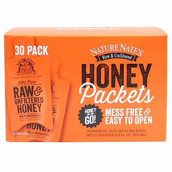 Nature Nate's Raw and Unfiltered Honey Packets 30 Count. 9.9 fl. oz. (300ml)