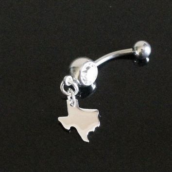 Texas Belly Ring CZ Crystal  Body Piercing Sterling Silver Charm Louisiana Florida Hawaii California New York Georgia Alaska Georgia Penn