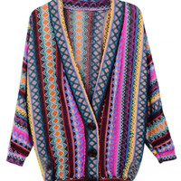 Purple V-neck Mixed Stripe Knit Cardigan