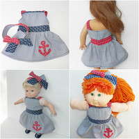 """Doll Olivia Dress in Navy Blue Cotton American Made for Your 18"""" Girl Doll or 15"""" Bitty Baby or Cabbage Patch 16"""" kids- Adorabledolldesigns"""
