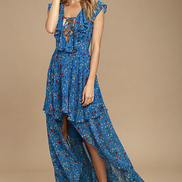 Always and Forever Blue Floral Print Lace-Up High-Low Dress