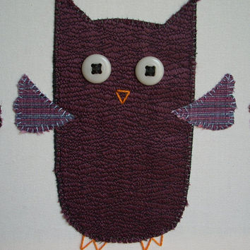 Three Purple Owls Flying Wall Art